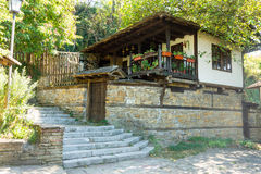 Historic building in traditional style in the town of Lovech in Bulgaria stock photo