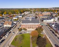 Historic buildings aerial view Needham, MA, USA royalty free stock photo