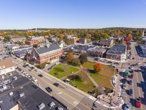 Historic buildings aerial view Needham, MA, USA royalty free stock photography