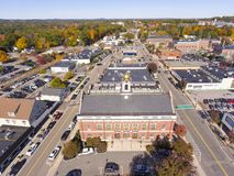 Historic buildings aerial view Needham, MA, USA stock photos