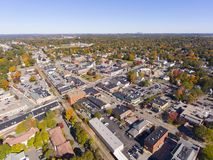 Historic buildings aerial view Needham, MA, USA stock images