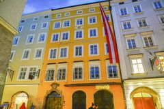 Historic building that was home of Mozart from street below at n Stock Photos