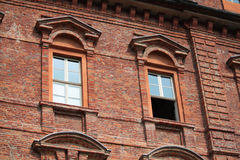 Historic building. Building with windows and balconies in turin Stock Photos