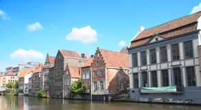 Historic buildings. Historic houses at the waterfront. Picture taken in Ghent, a well preserved medieval city in Belgium royalty free stock photo
