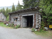 Historic buildings. In Alaska at the Crow Creek Mine, Girdwood stock photography