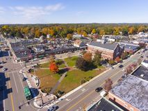 Historic buildings aerial view Needham, MA, USA royalty free stock images