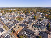 Historic buildings aerial view Needham, MA, USA stock photo