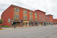 Historic buildings along Broad Street in downtown Hamilton, New Stock Image