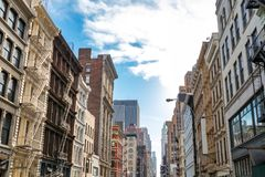 Historic buildings along Broadway in SoHo New York City. Historic buildings along Broadway in SoHo Manhattan, New York City NYC royalty free stock images