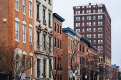 Historic buildings along Eager Street, in Mount Vernon, Baltimore, Maryland.  royalty free stock images