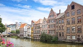 The historic buildings along the Leie river, Ghent Royalty Free Stock Images