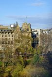 Historic buildings along Princes Street Gardens, in Edinburgh, Scotland. Historic buildings along Princes Street Gardens in autumn, in Edinburgh, Scotland stock photos