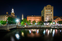 Historic buildings along the Providence River at night, in Provi Stock Photo