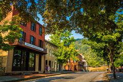 Historic buildings along Shenandoah Street in Harper's Ferry, We Royalty Free Stock Photo
