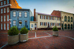 Historic buildings along State Circle, in downtown Annapolis, Ma Royalty Free Stock Photo