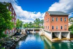 Historic buildings along the Winnipesaukee River, in Laconia, Ne Stock Photos