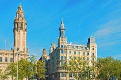 Historic buildings at Antonio Lopez Plaza in Barcelona, Spain Stock Images