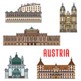 Historic buildings and architecture sightseeings of Austria. Historic buildings of Austria. Vector architecture icon of Burgtheater, Eggenberg Palace, Melk Abbey Stock Image