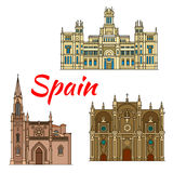 Historic buildings and architecture of Spain. Famous historic buildings and landmarks of Spain. Detailed architecture icon of Cibeles Palace, Santiago Cathedral royalty free illustration