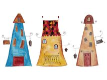 Historic buildings. Artistic work, watercolors on paper Royalty Free Stock Image