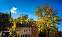 Historic buildings and autumn color in Harpers Ferry, West Virgi Stock Photos