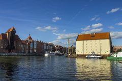 Historic buildings on the banks of the river in Gdansk. Poland royalty free stock photos