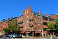 Historic Buildings on Beacon Hill, Boston, USA. Historic Buildings at the corner of Charles Street and Mt Vernon Street on Beacon Hill, Boston, Massachusetts royalty free stock images