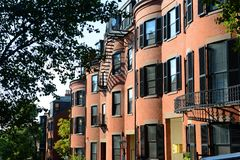 Historic Buildings on Beacon Hill, Boston, USA. Historic Buildings on Pinckney Street at West Cedar Street on Beacon Hill, Boston, Massachusetts, USA Royalty Free Stock Image