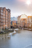 Historic buildings on both sides of Nikolaifleet channel in Hamburg Royalty Free Stock Image