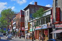 Boul St-Laurent in Chinatown, Montreal. Historic Buildings on Boulevard St-Laurent in Chinatown, Montreal, Quebec, Canada Royalty Free Stock Images