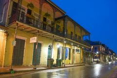Bourbon Street in French Quarter, New Orleans. Historic Buildings on Bourbon Street between Orleans Street and St Ann Street in French Quarter in New Orleans Stock Image