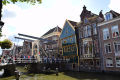 Historic buildings and bridge in the Dutch town of Alkmaar, the city with its famous cheese market - Travelling through Holland stock images