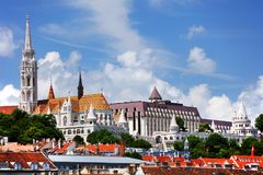 Historic buildings on Buda hill, Budapest. Historic buildings on the Buda hill - Matthias Church and the Fisherman`s Bastion are landmarks for Budapest. Hungary stock photos