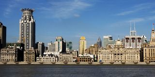 Historic Buildings in The Bund. The Bund (simplified Chinese: 外滩; traditional Chinese: 外灘; pinyin: Wàitān) is an area of Huangpu District in central Stock Images