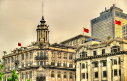 Historic buildings on the Bund riverside of Shanghai Royalty Free Stock Images