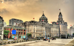 Historic buildings on the Bund riverside of Shanghai Royalty Free Stock Photography