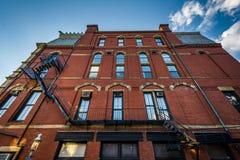 Historic buildings on Bunker Hill, in Charlestown, Boston, Massa Royalty Free Stock Image