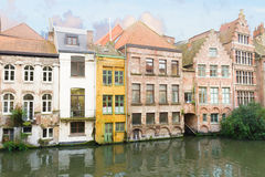 Historic Buildings With Canal In Ghent Stock Photography