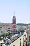 The historic buildings and central road on Nevsky Prospect - panorama birds eye view Royalty Free Stock Image