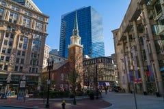 Boston Historic Buildings. Contrast between historic buildings and modern in Boston Stock Image