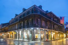 Royal Street in French Quarter, New Orleans. Historic Buildings at the corner of Royal Street and St. Ann Street in French Quarter at night in New Orleans royalty free stock photography