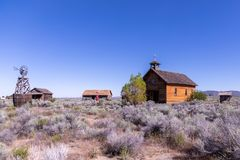 Historic buildings in a desert homestead stock photography