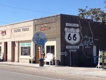 Historic buildings designer beside the route 66 Royalty Free Stock Photos