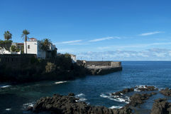 Historic buildings facing ocean in Tenerife Royalty Free Stock Photography