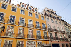 Historic Buildings Fronts @Bairro Alto, Lisbon. Colored centenaries facade buildings, old uptown, Lisbon, Portugal. This is a central area and very popular as Stock Images
