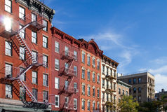 Historic Buildings in Greenwich Village neighborhood of Manhatta. Historic Apartment Buildings along Bleecker Street in the Greenwich Village neighborhood of Royalty Free Stock Photo