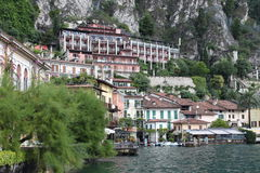 Historic buildings in the Italian Lake Garda, under the mountains. Town Limone Royalty Free Stock Photos