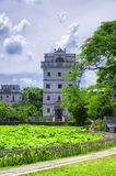 Kaiping tower Diaolou Village buildings. The historic buildings of Kaiping Diaolou in Zili village in Kaiping China in Guangdong province on a sunny blue sky day royalty free stock photos