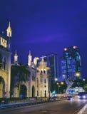 Historic buildings of Kuala Lumpur at night Royalty Free Stock Photography
