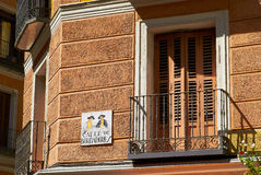 Historic buildings with lace fronts of Madrid Stock Photo